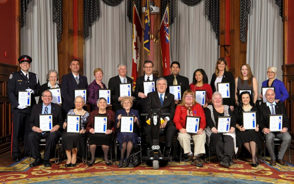 Recipients (morning ceremony) of the Governor General's Caring Canadian Award.